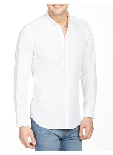Bisse GM20Y21066 Regular Fit Dokulu Spor Gömlek Beyaz